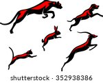 Stock vector leaping animals set of simplified illustration of various mammals 352938386