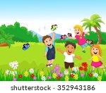 happy children playing with... | Shutterstock .eps vector #352943186