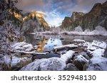 valley view in the winter... | Shutterstock . vector #352948130