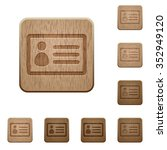 set of carved wooden id card...