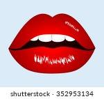 vector illustration red lips | Shutterstock .eps vector #352953134