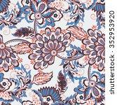 vintage pattern in indian batik ... | Shutterstock .eps vector #352953920