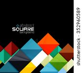 glossy color squares on black.... | Shutterstock .eps vector #352960589