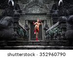 muay thai fighter preparing to... | Shutterstock . vector #352960790