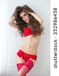 sexy girl in red erotic...   Shutterstock . vector #352986458