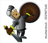 knight with armour  shield and... | Shutterstock .eps vector #352987160