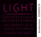 alphabet of pink lights on dark ... | Shutterstock . vector #353009174
