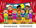 multicultural kids singing on... | Shutterstock .eps vector #353025650