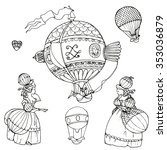 baroque hot air balloons  women ... | Shutterstock .eps vector #353036879