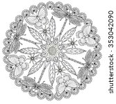 zentangel rosette with insects  ... | Shutterstock .eps vector #353042090