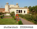Alamgiri Gate and Hazuri Bagh Pavilion of Lahore Fort in Old City Lahore, Pakistan. Alamgiri Gate, built in 1673 AD is the main entrance to Lahore Fort. Lahore Fort is a UNESCO World Heritage Site.
