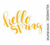 hello spring. lettering... | Shutterstock . vector #353044754
