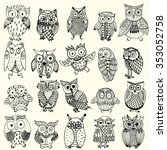 owl background   multiple owl... | Shutterstock .eps vector #353052758