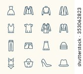 clothes line icon set | Shutterstock .eps vector #353062823
