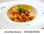 Small photo of Chicken bucatini in Tomato sauce,Amain dish of Italian food