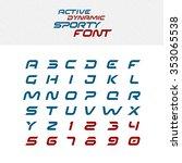 sport techno font alphabet... | Shutterstock . vector #353065538