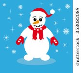 christmas snowman on blue... | Shutterstock .eps vector #353082089