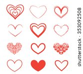 a set of hearts on a white... | Shutterstock . vector #353092508