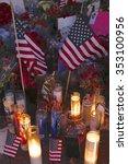 Small photo of SAN BERNARDINO, CA. DECEMBER 17, 2015, A makeshift memorial at the Inland Regional Center (IRC) in San Bernardino, CA. San Bernardino shooting aftermath in San Bernardino, CA.