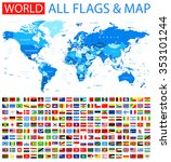 All Flags And World Map Vector...