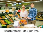 family couple buying sweet... | Shutterstock . vector #353104796