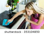 happy young maid cleans modern... | Shutterstock . vector #353104850