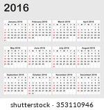 calendar 2016 year on white... | Shutterstock .eps vector #353110946