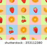 "seamless pattern ""mixed fruits"".... 