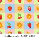 "seamless pattern ""mixed fruits"".... | Shutterstock .eps vector #353112380"