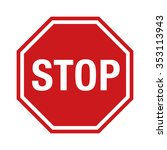red stop sign icon with text...