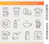 set of isolated coffee elements ... | Shutterstock .eps vector #353123858
