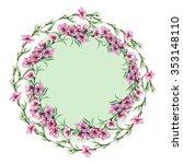 peach floral border  watercolor   Shutterstock . vector #353148110