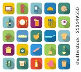 kitchen color icons with long... | Shutterstock .eps vector #353149550