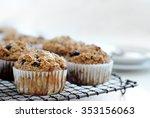 healthy wholewheat bran muffins ... | Shutterstock . vector #353156063
