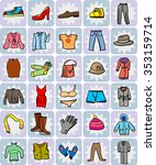hand drawn variety of garments  ... | Shutterstock .eps vector #353159714