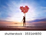 love concept  man flying with... | Shutterstock . vector #353164850