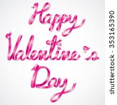 pink ribbon happy valentine's... | Shutterstock .eps vector #353165390