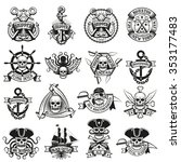 collection of pirate tattoos... | Shutterstock . vector #353177483