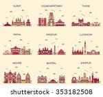 set of indian cities skylines.... | Shutterstock .eps vector #353182508
