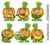 set of funny red haired gnome... | Shutterstock .eps vector #353236850