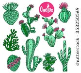 color hand drawn cactus... | Shutterstock .eps vector #353250569