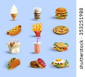 fast food restaurant menu icons ... | Shutterstock .eps vector #353251988