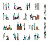 volunteers set with people... | Shutterstock .eps vector #353252888