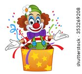 clown pops out of box with... | Shutterstock .eps vector #353269208