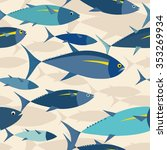 tuna shoal in the sea seamless... | Shutterstock .eps vector #353269934