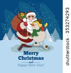 snowy christmas scene with... | Shutterstock .eps vector #353274293