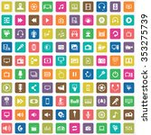 multimedia  video 100 icons... | Shutterstock . vector #353275739