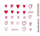 watercolor hearts. watercolor... | Shutterstock . vector #353291390
