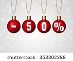christmas sale sign on red...   Shutterstock .eps vector #353302388