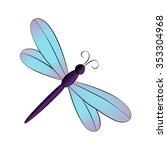 Vector Cartoon Dragonfly On...
